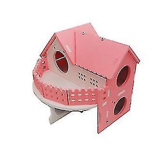 Hamster Golden Bear Luxury Kaksikerroksinen Huvila Suuri Ekologinen Lauta Puutalo (Pinkki)