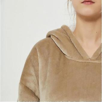 Lazy Blanket Hooded Blanket Sweatshirt Wear-resistant Blanket Men And Women Robe(Khaki)