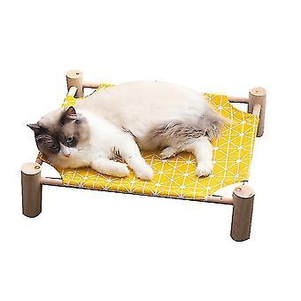 Kissan sänky , kissa riippumatto massiivipuu kangas voidaan poistaa (keltainen)