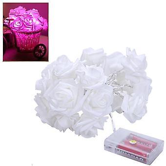 3M Rose String Lichter Simulation Blume LED Fee Licht Saiten Hochzeit Weihnachtsdekoration (Rosa)