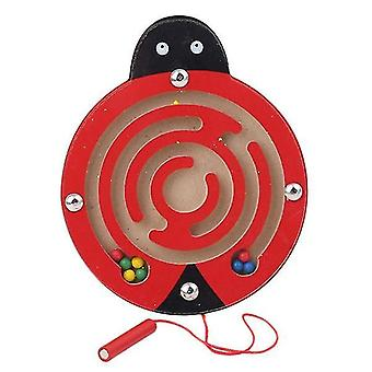 Børn magnetisk labyrint legetøj træ puslespil (Mariehøne)