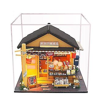 Japanischer Stil Lebensmittelgeschäft 3D Holz Puppenhaus Miniaturas mit Möbeln DIY Puppe Haus Kit Spielzeug