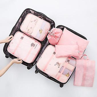 7 Pièces ensemble de cubes et pochettes d'organisateur de voyage d'emballage de bagages (rose)