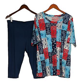 Comfort Code by Cuddl Duds Set Short Slv Shirt & Cropped Pant Blue 733541