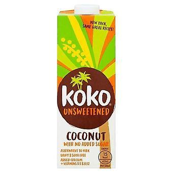 Koko Coconut Milk Dairy Free Non zuccherato 1L, Un pizzico di cocco naturale, Senza glutine, Prodotto senza lattosio naturalmente, Aggiunti extra calcio e vitamine D2 & B12