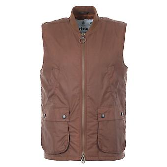 Barbour White Label Westmoreland Rib Collar Waxed Cotton Gilet - Brown