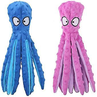 2pcs blekksprut myk plysj knirkende hund squeakers leketøy