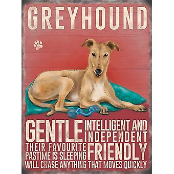 Large Wall Plaque 400mm x 300mm - Cream Greyhound by The Original Metal Sign Co