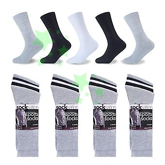10 paires Mens Extra confort coton Rich Sports Socks UK taille 6-11