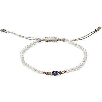Perla y lapislázuli en oro rosa plateada pulsera de plata 925