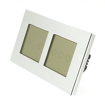 I LumoS Silver Brushed Aluminium Double Frame 5 Gang 1 Way Remote Touch LED Light Switch Gold Insert