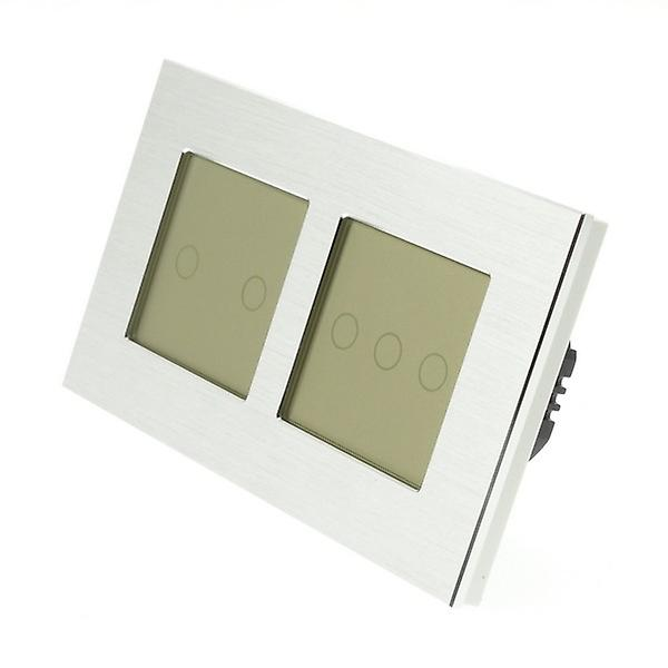 I LumoS Silver Brushed Aluminium Double Frame 5 Gang 1 Way Touch LED Light Switch Gold Insert