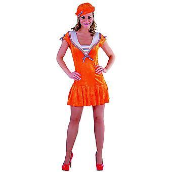 Trajes de mulheres da Marinha marinheiro vestem laranja de senhoras