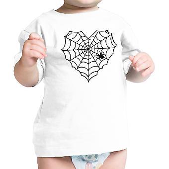 قلب العنكبوت ويب الطفل الأبيض التي شيرت مضحك الرضع المحملة لجميع القديسين