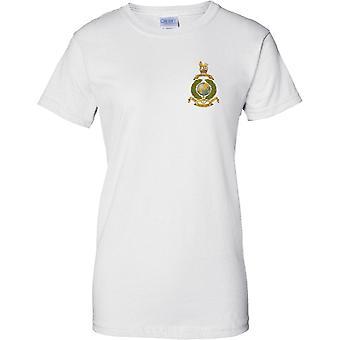Gelicentieerde MOD-Royal Marines Globe en Laurel Insignia-per merrie per terram-dames borst ontwerp T-shirt