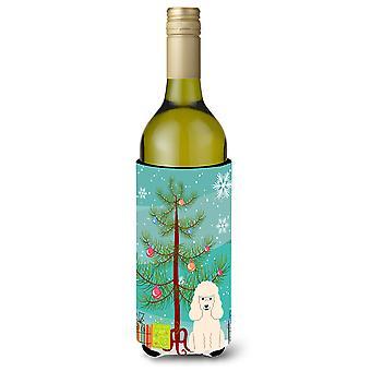 Merry Christmas Tree Poodle White Wine Bottle Beverge Insulator Hugger