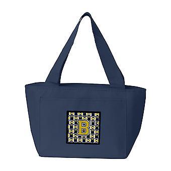 Carolines Treasures  CJ1074-BNA-8808 Letter B Football Blue and Gold Lunch Bag