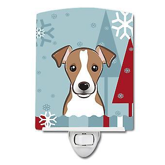 Winter Holiday Jack Russell Terrier Ceramic Night Light