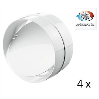 Backdraft Shutter / Coupler - For Ducting - (4 Pack) Fans - 100mm 4'' Round PVC - Vent - Back Draft