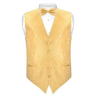 Mäns Paisley SLIM FIT klänning Vest fluga BOWTie näsduk inställd