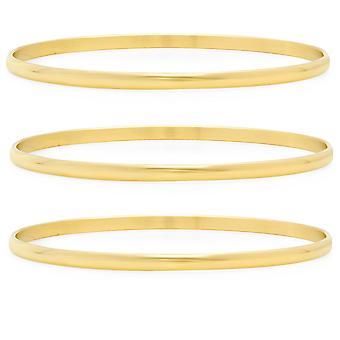 Dames reeks 3 18K goud vergulde RVS armbanden