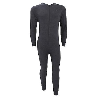 FLOSO Mens Thermal Underwear All In One Union Suit With Rear Flap (Standard Range)