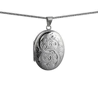 Silber 35x26mm Oval hand gravierte 4 Foto Familie Medaillon mit einem Bordstein Kette 24 Zoll