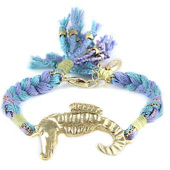 Ettika - armband in geel goud seahorse en katoenen linten gevlochten blauw