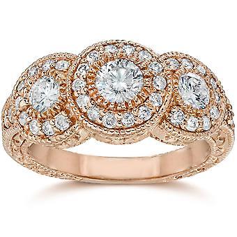 1 1/2 ct Vintage 3 diamantbryne Halo förlovningsring runda snitt 14K roséguld