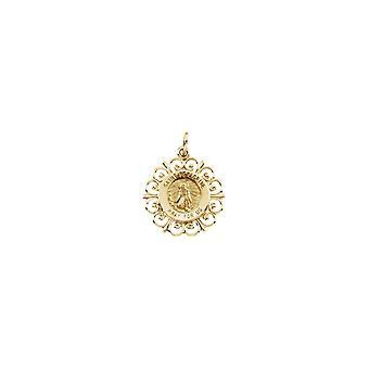 14 k Gelb Gold Runde St. Peregrine Anhänger Medaille 18,5-1,5 Gramm