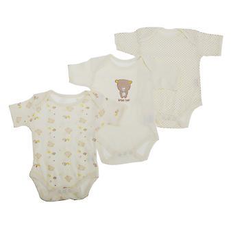 Bebê urso Unisex padrão bodys de manga curta (Pack de 3)