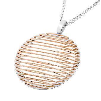 Orphelia plata 925 collar cadena doble Bicolor pequeño círculo + líneas ZK-7180/1