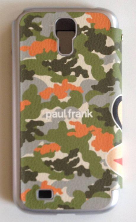 Original Paul Frank ® view bag cover leatherette for Samsung Galaxy S4 / LTE design Camo Grün