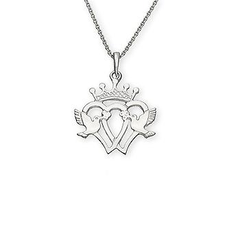 Sterling Silver Traditional Scottish Luckenbooth Double Heart Hand Crafted Necklace Pendant