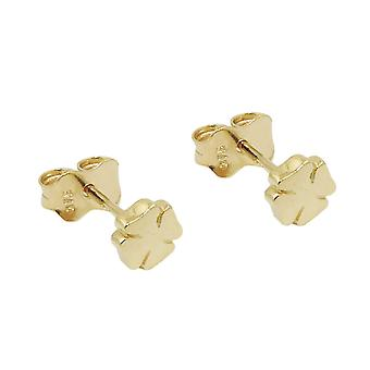 Plug 5mm clover leaf shiny 9Kt GOLD
