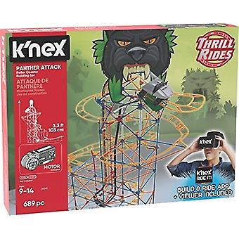 K'NEX Thrill Rides - Panther Attack Roller Coaster Building Set with Ride It! App - 690Piece - Ages 9+ Building Set