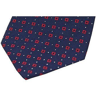 David Van Hagen Neat Muster Seide Stecktuch - dunkelblau/rot