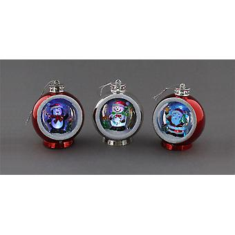 3 x Festive Productions 8cm Battery Operated Colour Changing Christmas Bauble Decoration
