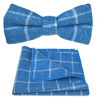 Azure Blue Birdseye Check Bow Tie & Pocket Square Set