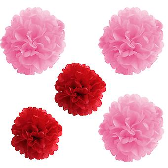 TRIXES Set of 5 Pink and Red 3D Tissue Paper Hanging Pom Pom Decorations