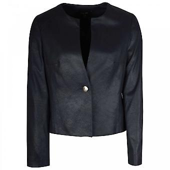 Marie Mero Long Sleeve Collarless Navy Blue Jacket