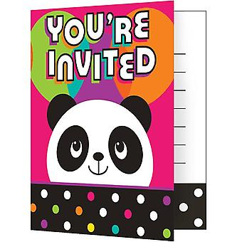 Panda party invitations with envelopes 8 piece Panda party birthday decoration