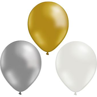 Balloons mix 24-pack Gold, Silver and White | 30 cm (12 inches)