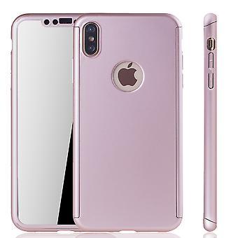 Apple iPhone XS Max Handy-Hülle Schutz-Case Full-Cover Panzer Schutz Glas Rose