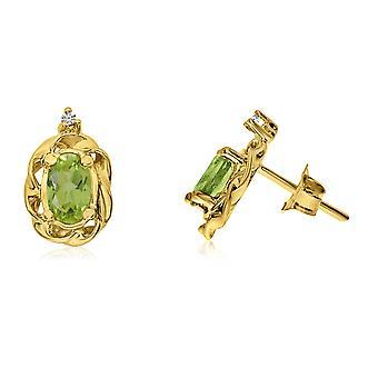 LXR 14k Gelbgold Peridot Scroll Diamant Ohrringe 0.28 ct