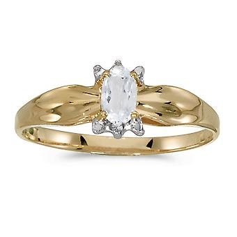 LXR 10k Yellow Gold Oval White Topaz and Diamond Ring 0.23ct
