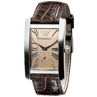 Emporio armani mens ar0154 brown leather quartz watch with gold dial