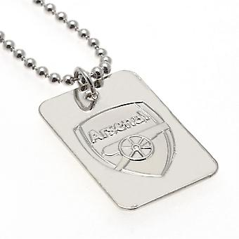 Arsenal FC Silver Plated Dog Tag And Chain
