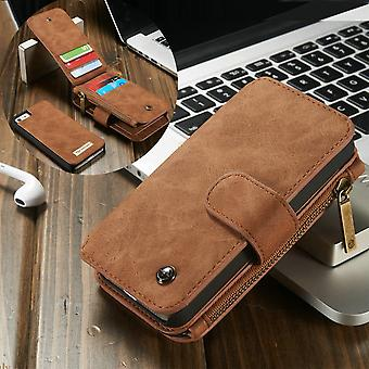 CASEME iPhone SE 5/5s Retro leather wallet case-brown