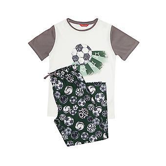 Minijammies 6362 Boy's Alfie Grey Football Print Pyjama Set